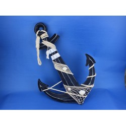 """Wooden Rustic Blue Anchor w/ Hook Rope and Shells 24"""""""