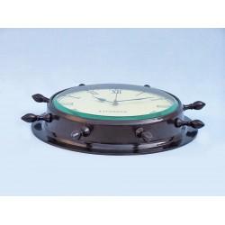 "Ship Wheel Clock 15""-Antique Copper"