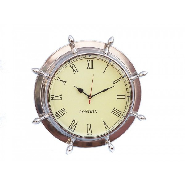 "Ship Wheel Clock 15""-Chrome"