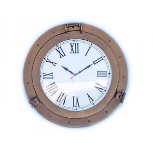"Decorative Ship Porthole Clock 24""-Antique Brass"