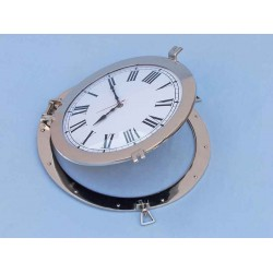 "Decorative Ship Porthole Clock 24""-Chrome"