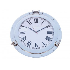 "Decorative Ship Porthole Clock 24""-Chrome"
