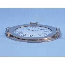"Decorative Ship Porthole Clock 24""-Brushed Nickel"