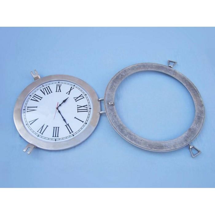 Decorative Ship Porthole Clock 24 Quot Brushed Nickel