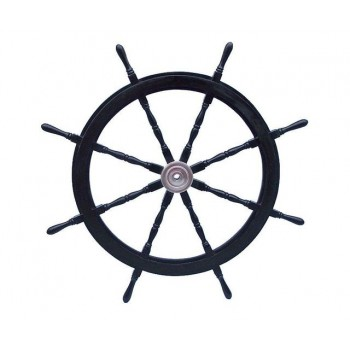 """Deluxe Class Wood and Chrome Pirate Ship Steering Wheel 72"""""""