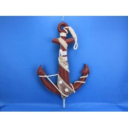 """Wooden Rustic Red Anchor w/ Hook Rope and Shells 24"""""""