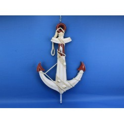 Wooden Rustic Red/White Anchor w/ Hook Rope and Shells 24""