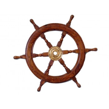 Deluxe Class Wood and Brass Ship Wheel 30""