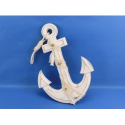 Wooden Rustic Whitewashed Anchor 13""