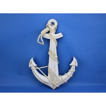 """Wooden Rustic Whitewash Anchor w/ Hook Rope and Shells 24"""""""