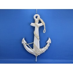 Wooden Rustic Whitewash Anchor w/ Hook Rope and Shells 24""