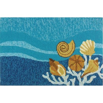 Shells & White Coral Coastal Rug