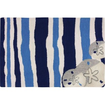 Sand Dollars On Blue Stripes Rug