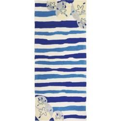 Sand Dollars On Blue Stripes Rug