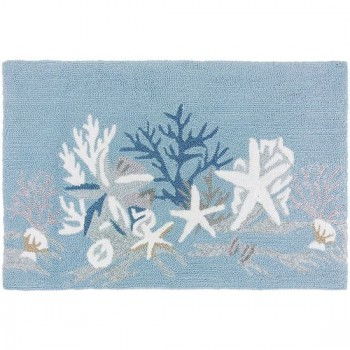 White Coral Reef Coastal Rug