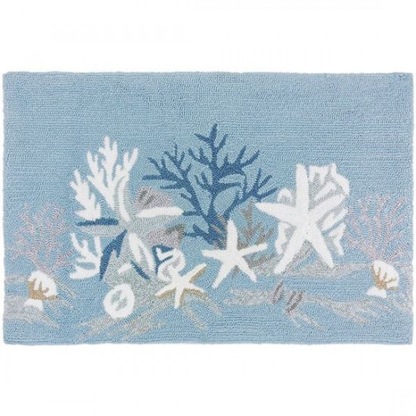 White Coral Reef Coastal Rug