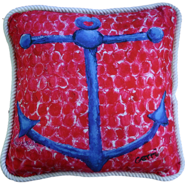 Blue Anchor Pillow