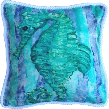 Aqua Seahorse Pillow