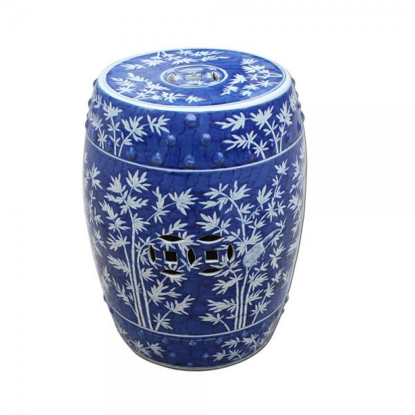 Blue & White Bamboo Magpie Garden Stool