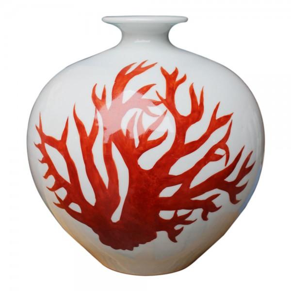 White Pomegranate Vase - Red Coral