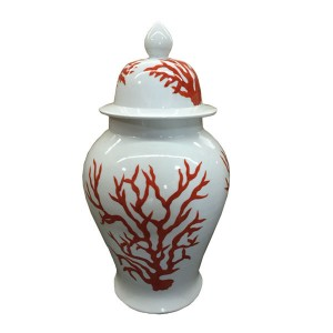 WHITE TEMPLE JAR WITH RED CORAL