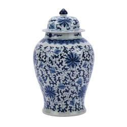 Blue & White Twisted Lotus Temple Jar