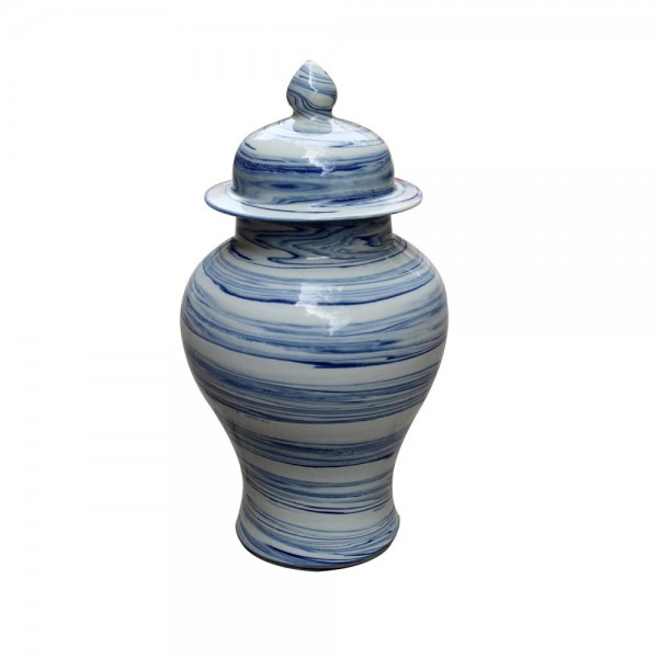 B&W Marbleized Temple Jar