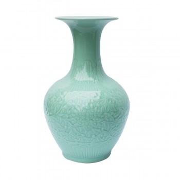 Celadon Carved Floral Pear Porcelain Vase