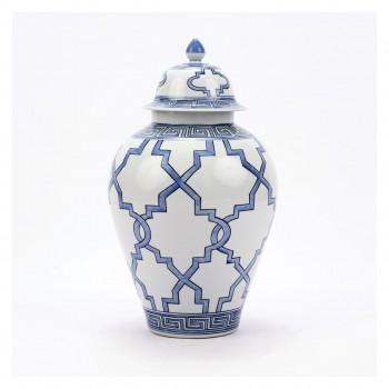 Blue & White Greek Key Porcelain Jar