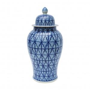 Blue & White Chess Grid Porcelain Temple Jar