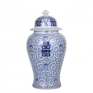 Porcelain Double Happiness Floral Temple Jar - 2 Sizes