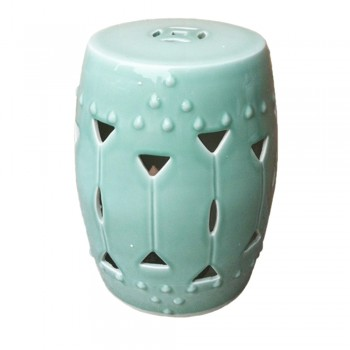 Carved Triangle Round Garden Stool - Celadon