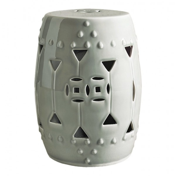 Carved Triangle Round Garden Stool - White