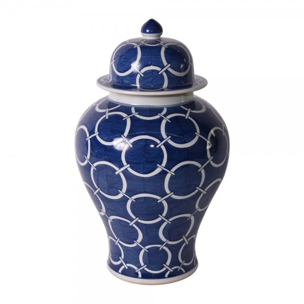 Indigo Blue Circle Temple Jar