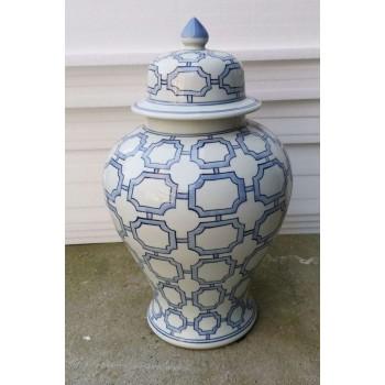 B&W Octagonal Window Temple Jar