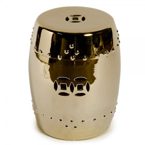 Metallic Gold Porcelain Garden Stool