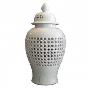 WHITE CARVED KNOT TEMPLE JAR