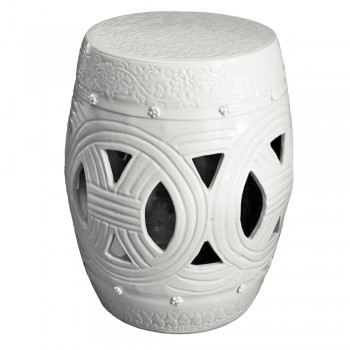 White Carved Rope Garden Stool