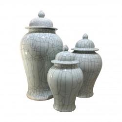 Celadon Crackle Temple Jar