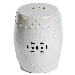 White Crystal Shell Garden Stool