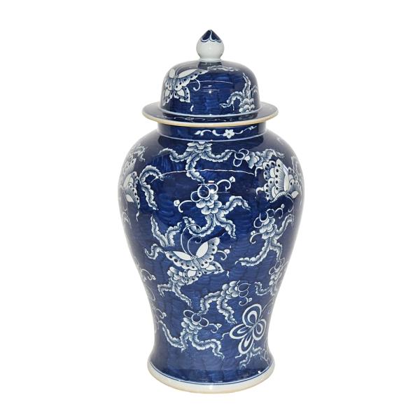 Blue & White Butterfly Temple Jar