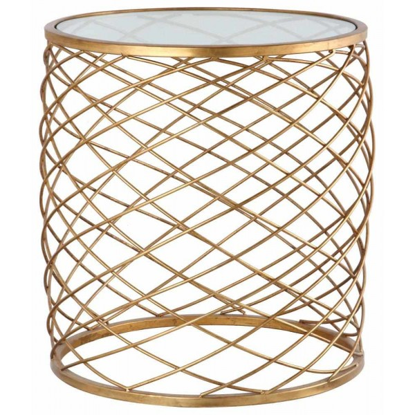 Criss Cross Side Table - Gold Leaf