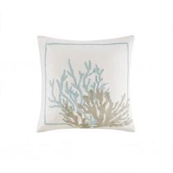 Cannon Beach Embroidered Cotton Square Decorative Pillow