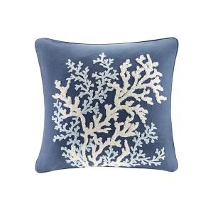 Rift Coral Linen Embroidery Pillow-Navy