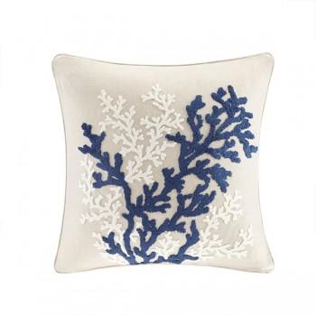 Rift Coral Linen Embroidery Pillow-Linen