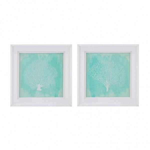 Embroidered Coral Framed Prints-Set of 2