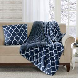 Ogee Accent Pillow-Navy