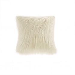 Edina Faux Fur Decorative Pillow-Ivory