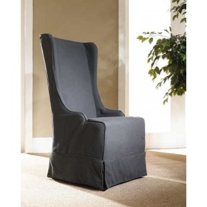 Atlantic Beach Wing Dining Chair - Charcoal Linen