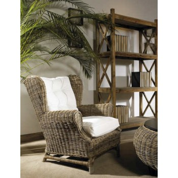 Wing Chair- Kubu- With White Cushion